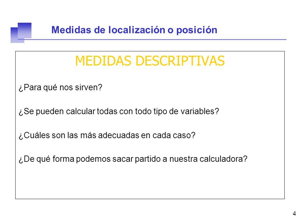 15 Medidas de localización o posición 47 52 57 63 64 69 71 72 78 81 86 91 c2 = 71 c1 = 60 c3 = 79,5