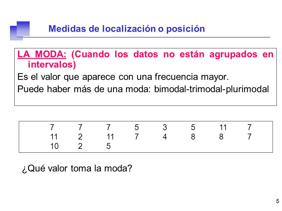 6 LA MODA: (Cuando los datos están agrupados en intervalos) Clasesnini Marca de clase [0,5)11 [5,10)13 [10,15)6 [15,20)2 [20,25)1 [25,30)3 Podemos encontrar: La CLASE MODAL ¿En la representación gráfica.