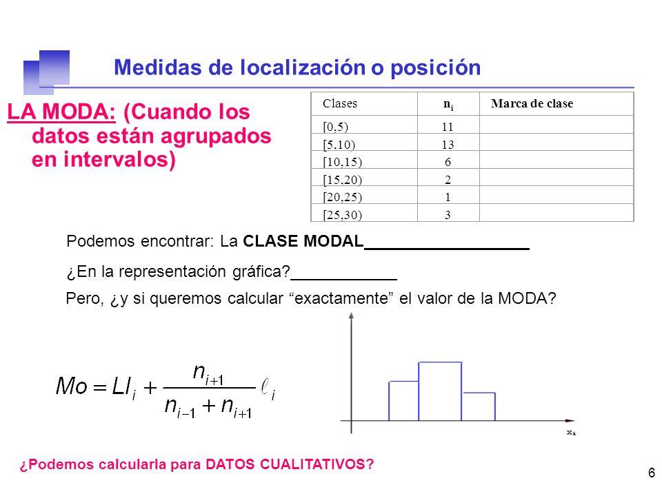 7 EJERCICIO: LA MODA IntervaloFrecuencia absoluta [0,5)6 [5,10)14 [10,15)20 [15,20)10 Calcular el valor exacto de la moda.