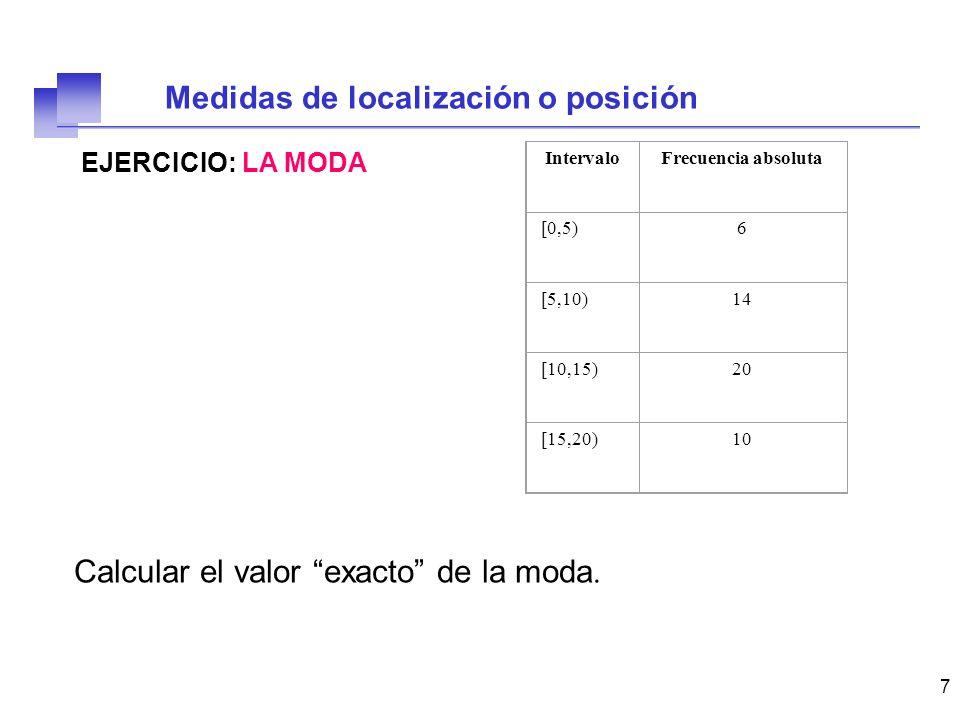 18 EJERCICIO 2: DIAGRAMA DE CAJA Construir el diagrama de caja para el anterior conjunto de datos.