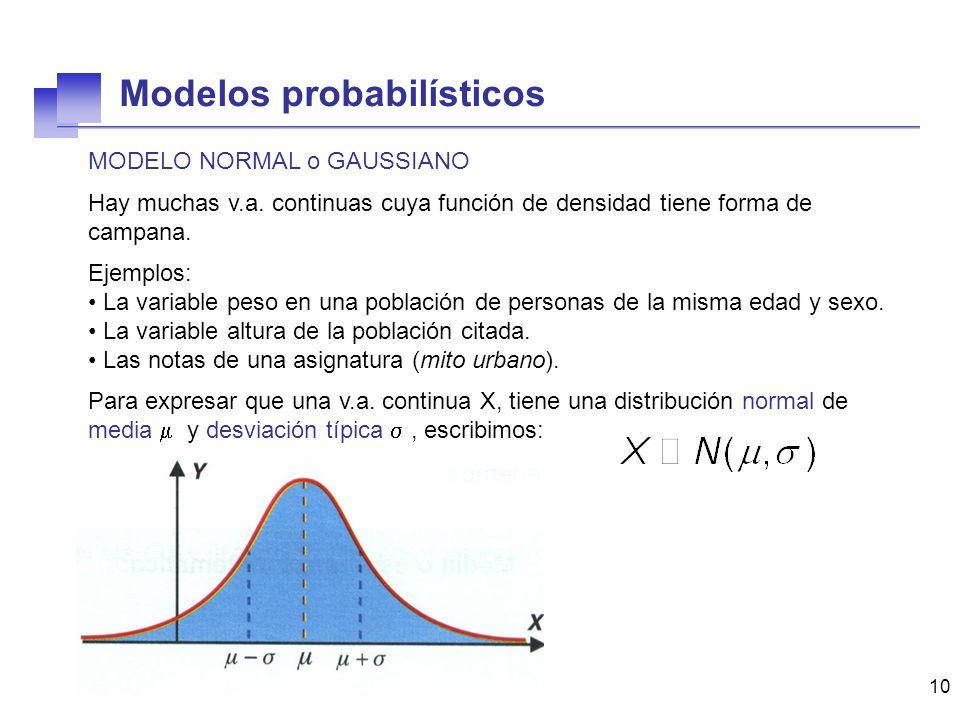10 MODELO NORMAL o GAUSSIANO Hay muchas v.a. continuas cuya función de densidad tiene forma de campana. Ejemplos: La variable peso en una población de