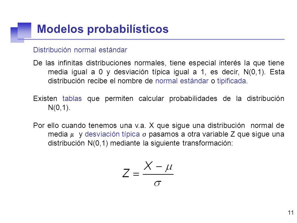 11 Distribución normal estándar De las infinitas distribuciones normales, tiene especial interés la que tiene media igual a 0 y desviación típica igua