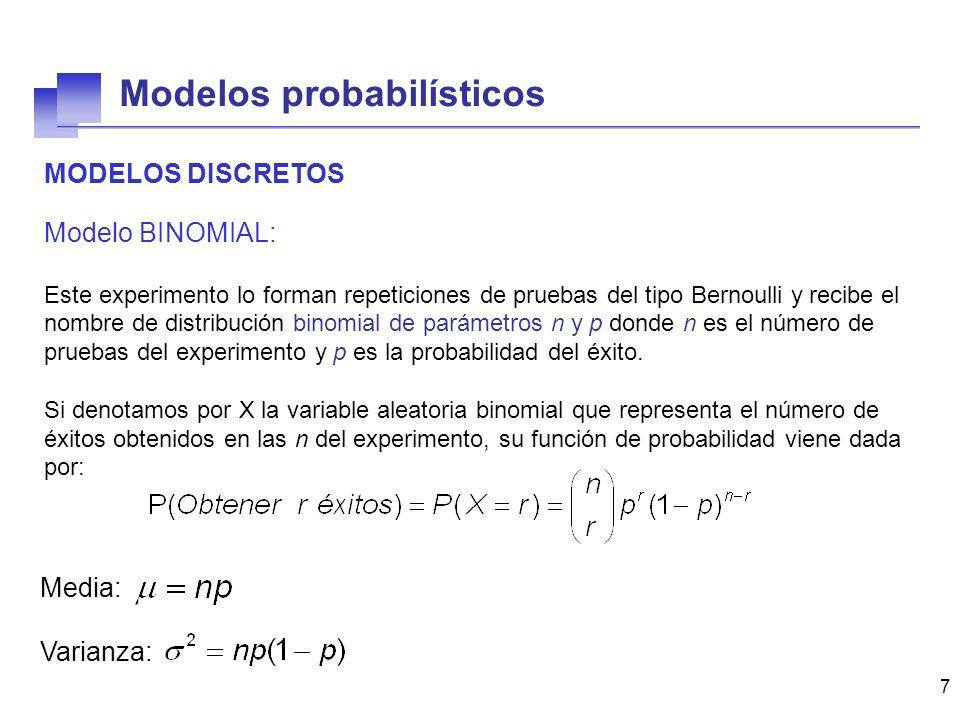 7 MODELOS DISCRETOS Modelo BINOMIAL: Este experimento lo forman repeticiones de pruebas del tipo Bernoulli y recibe el nombre de distribución binomial