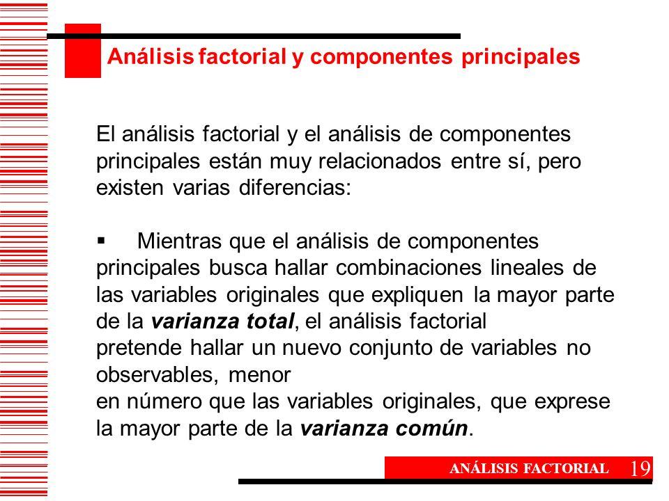 Análisis factorial y componentes principales 19 ANÁLISIS FACTORIAL El análisis factorial y el análisis de componentes principales están muy relacionad