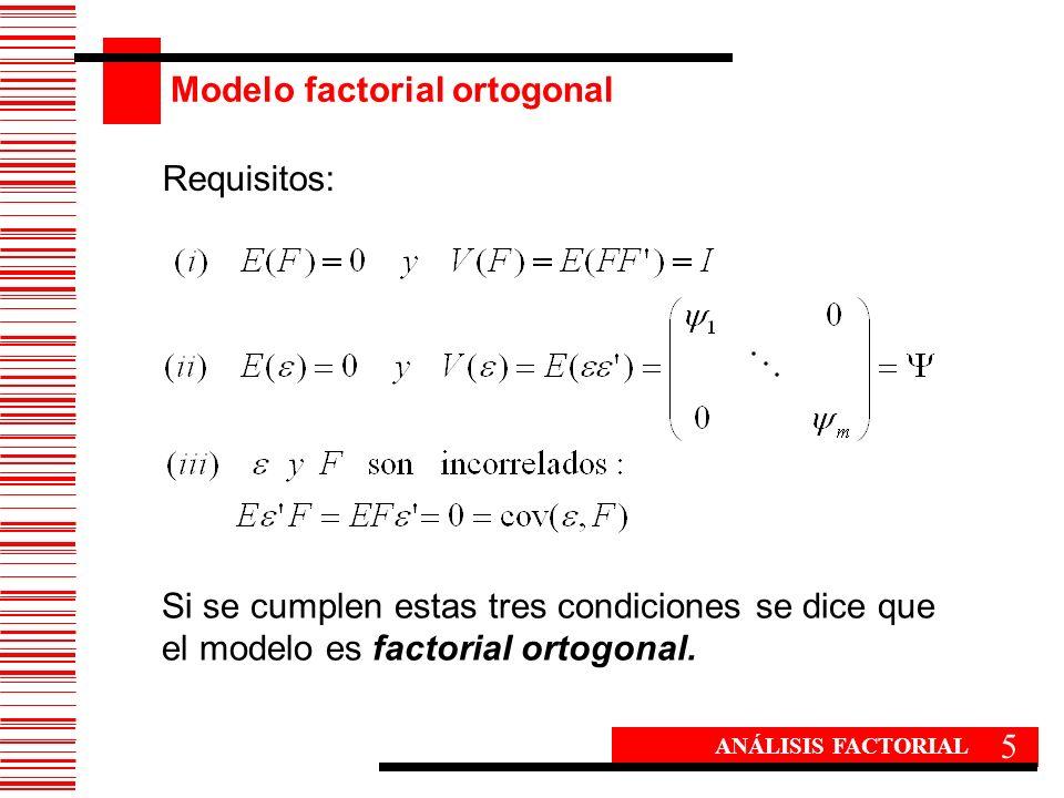 Modelo factorial ortogonal 5 ANÁLISIS FACTORIAL Si se cumplen estas tres condiciones se dice que el modelo es factorial ortogonal. Requisitos: