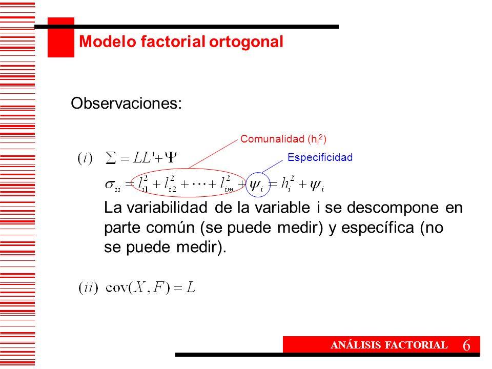 Modelo factorial ortogonal 6 ANÁLISIS FACTORIAL Observaciones: La variabilidad de la variable i se descompone en parte común (se puede medir) y especí