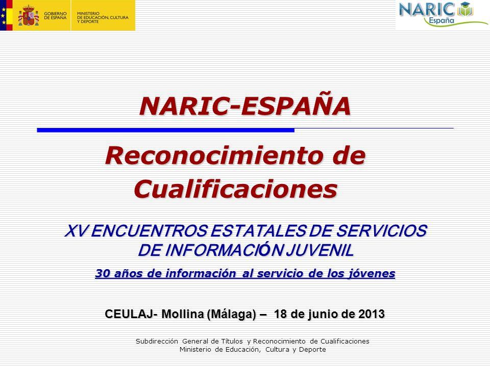 Subdirección General de Títulos y Reconocimiento de Cualificaciones Ministerio de Educación, Cultura y Deporte NARIC-ESPAÑA Reconocimiento de Cualific
