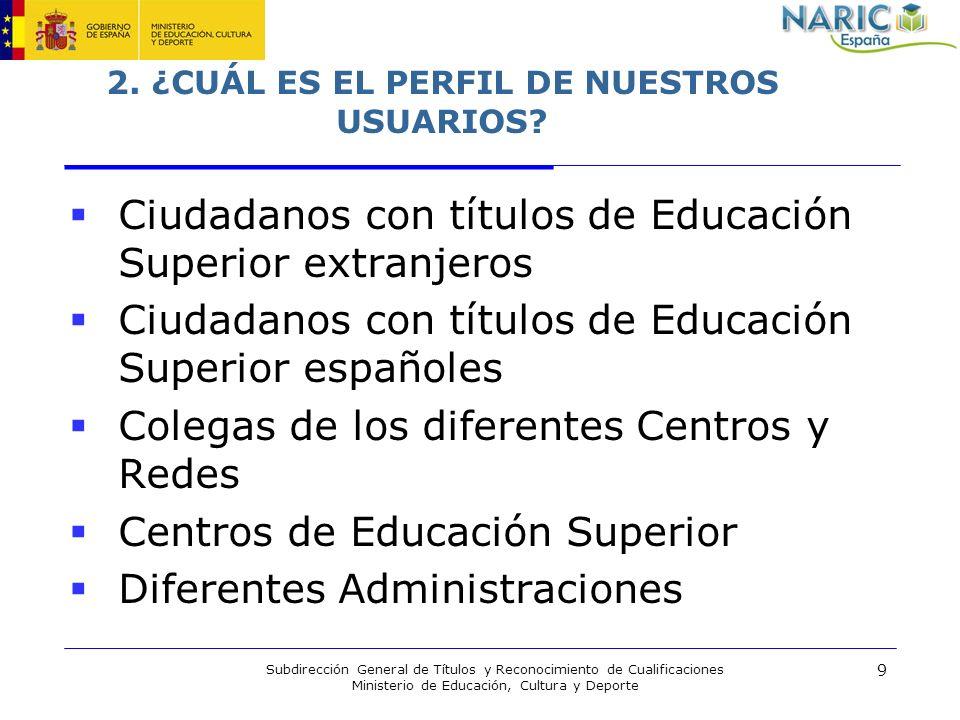 9 Subdirección General de Títulos y Reconocimiento de Cualificaciones Ministerio de Educación, Cultura y Deporte 2. ¿CUÁL ES EL PERFIL DE NUESTROS USU