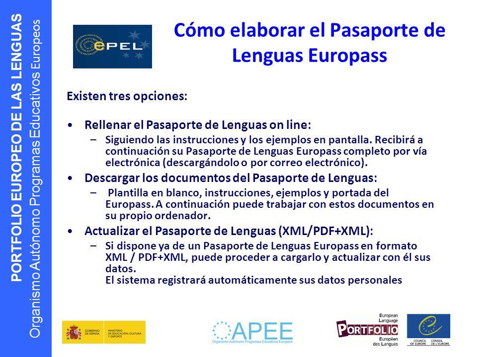 PORTFOLIO EUROPEO DE LAS LENGUAS Organismo Autónomo Programas Educativos Europeos Cómo elaborar el Pasaporte de Lenguas Europass Existen tres opciones