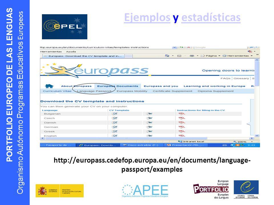 PORTFOLIO EUROPEO DE LAS LENGUAS Organismo Autónomo Programas Educativos Europeos EjemplosEjemplos y estadísticasestadísticas http://europass.cedefop.