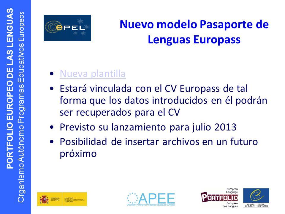 PORTFOLIO EUROPEO DE LAS LENGUAS Organismo Autónomo Programas Educativos Europeos Nuevo modelo Pasaporte de Lenguas Europass Nueva plantilla Estará vi