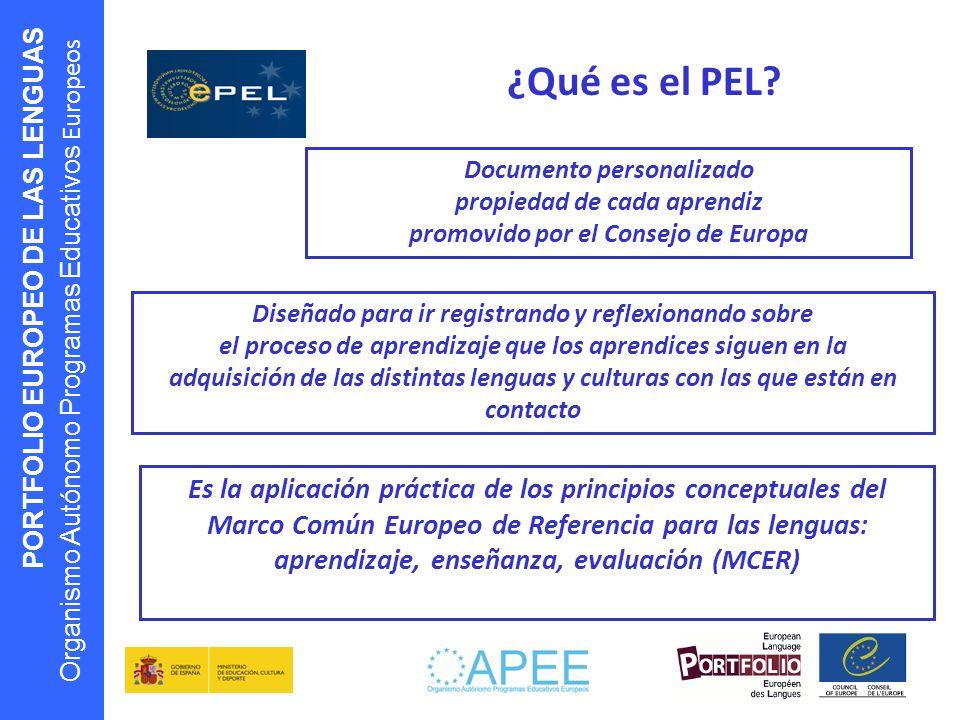 PORTFOLIO EUROPEO DE LAS LENGUAS Organismo Autónomo Programas Educativos Europeos ¿Qué es el PEL? Documento personalizado propiedad de cada aprendiz p