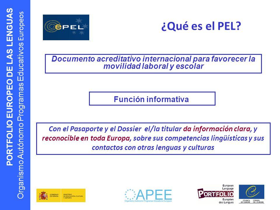 PORTFOLIO EUROPEO DE LAS LENGUAS Organismo Autónomo Programas Educativos Europeos ¿Qué es el PEL? Documento acreditativo internacional para favorecer