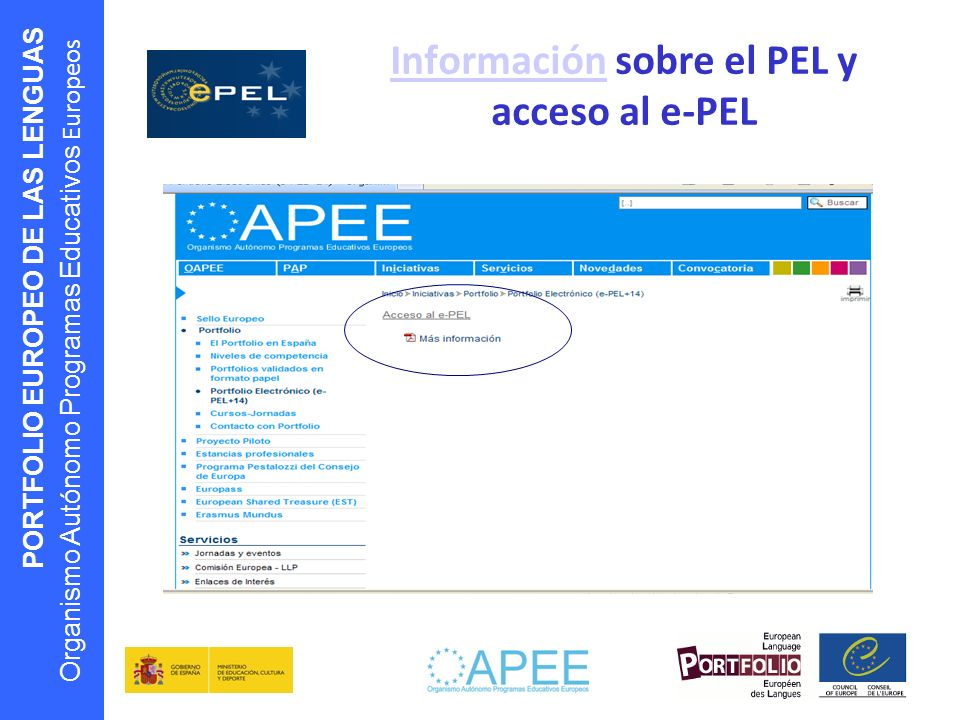 PORTFOLIO EUROPEO DE LAS LENGUAS Organismo Autónomo Programas Educativos Europeos InformaciónInformación sobre el PEL y acceso al e-PEL