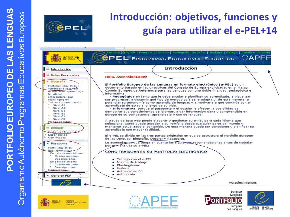 PORTFOLIO EUROPEO DE LAS LENGUAS Organismo Autónomo Programas Educativos Europeos Introducción: objetivos, funciones y guía para utilizar el e-PEL+14