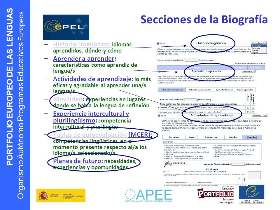 PORTFOLIO EUROPEO DE LAS LENGUAS Organismo Autónomo Programas Educativos Europeos Secciones de la Biografía –Historial lingüístico: idiomas aprendidos