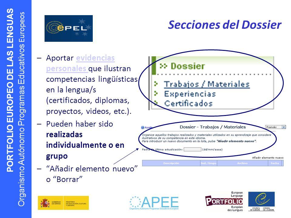 PORTFOLIO EUROPEO DE LAS LENGUAS Organismo Autónomo Programas Educativos Europeos Secciones del Dossier –Aportar evidencias personales que ilustran co
