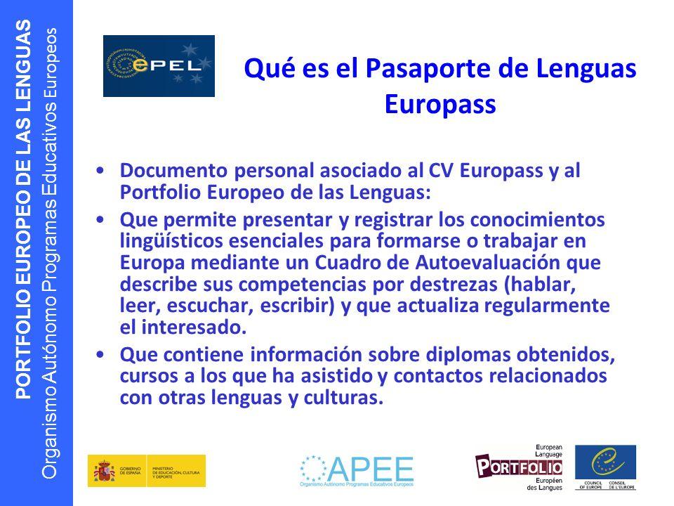 PORTFOLIO EUROPEO DE LAS LENGUAS Organismo Autónomo Programas Educativos Europeos Qué es el Pasaporte de Lenguas Europass Documento personal asociado