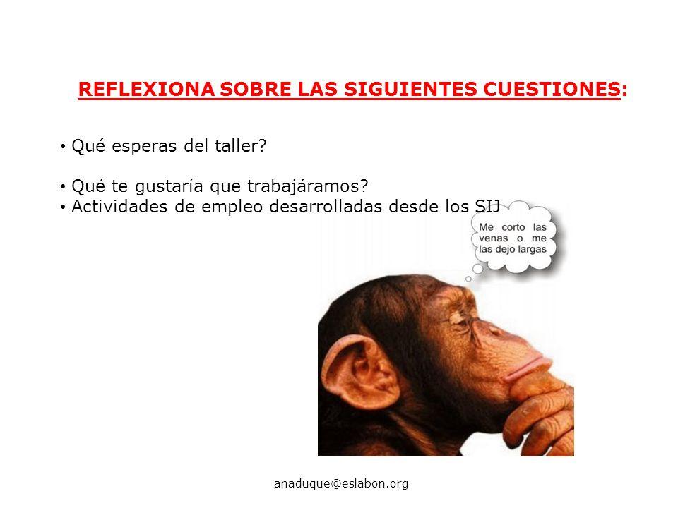 REFLEXIONA SOBRE LAS SIGUIENTES CUESTIONES: anaduque@eslabon.org Qué esperas del taller? Qué te gustaría que trabajáramos? Actividades de empleo desar
