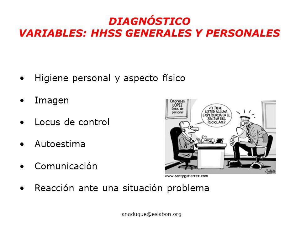 Higiene personal y aspecto físico Imagen Locus de control Autoestima Comunicación Reacción ante una situación problema DIAGNÓSTICO VARIABLES: HHSS GEN