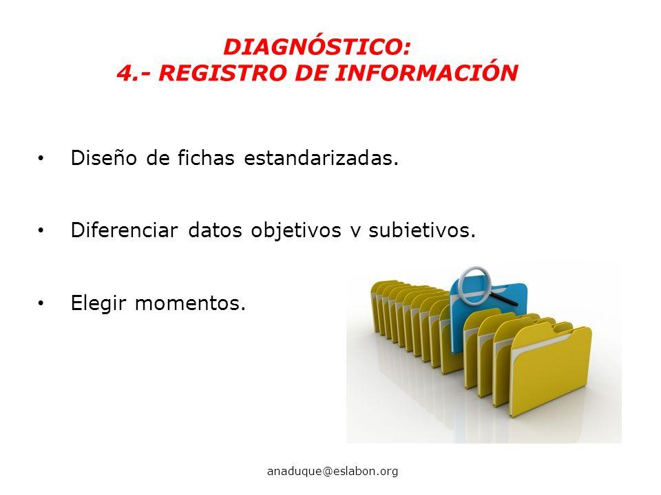 Diseño de fichas estandarizadas. Diferenciar datos objetivos y subjetivos. Elegir momentos. DIAGNÓSTICO: 4.- REGISTRO DE INFORMACIÓN anaduque@eslabon.