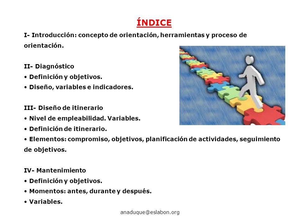 ÍNDICE I- Introducción: concepto de orientación, herramientas y proceso de orientación. II- Diagnóstico Definición y objetivos. Diseño, variables e in