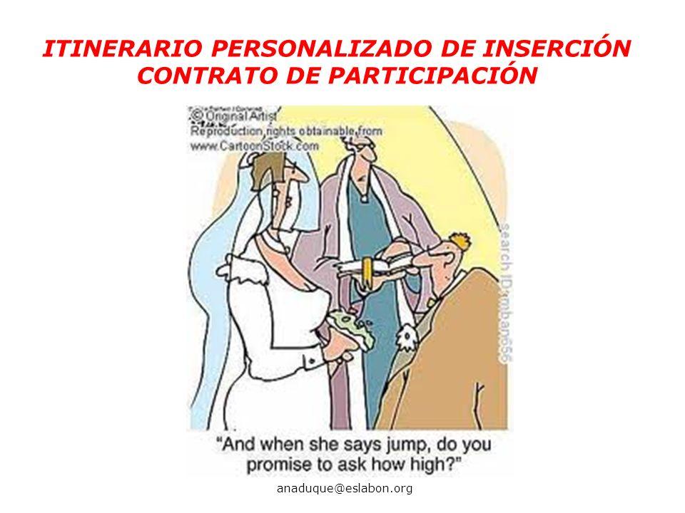 ITINERARIO PERSONALIZADO DE INSERCIÓN CONTRATO DE PARTICIPACIÓN anaduque@eslabon.org