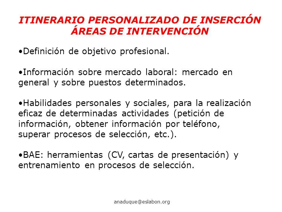 Definición de objetivo profesional. Información sobre mercado laboral: mercado en general y sobre puestos determinados. Habilidades personales y socia
