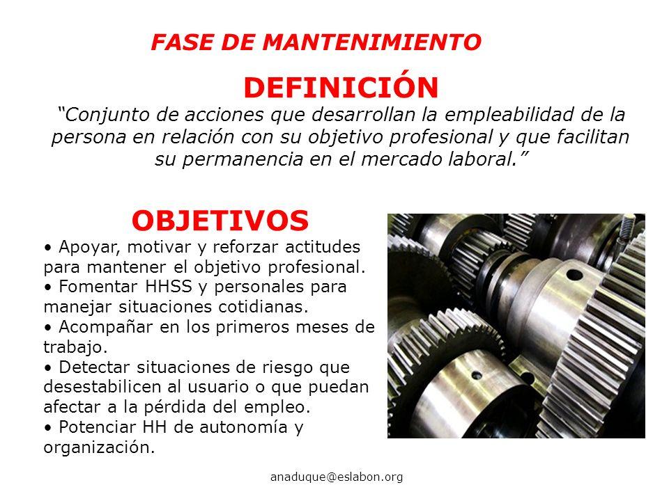DEFINICIÓN Conjunto de acciones que desarrollan la empleabilidad de la persona en relación con su objetivo profesional y que facilitan su permanencia