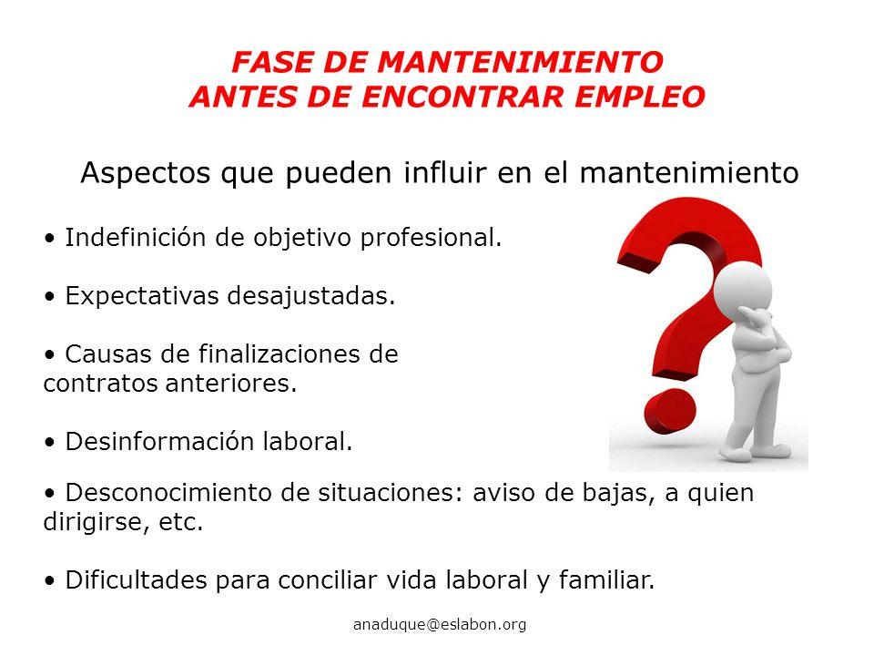FASE DE MANTENIMIENTO ANTES DE ENCONTRAR EMPLEO Aspectos que pueden influir en el mantenimiento anaduque@eslabon.org Indefinición de objetivo profesio