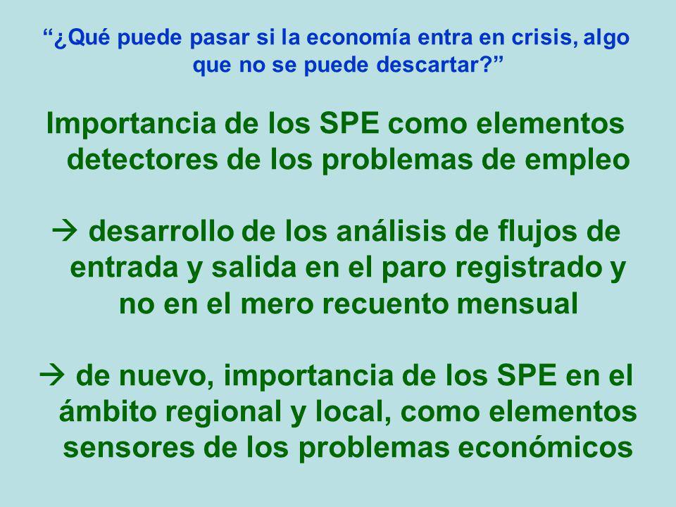 ¿Qué puede pasar si la economía entra en crisis, algo que no se puede descartar? Importancia de los SPE como elementos detectores de los problemas de