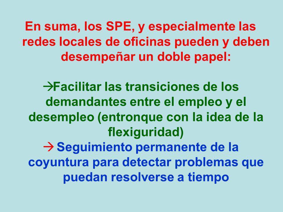 En suma, los SPE, y especialmente las redes locales de oficinas pueden y deben desempeñar un doble papel: Facilitar las transiciones de los demandante