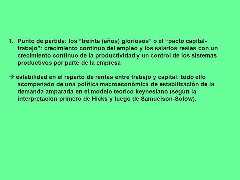 1.Punto de partida: los treinta (años) gloriosos o el pacto capital- trabajo: crecimiento continuo del empleo y los salarios reales con un crecimiento