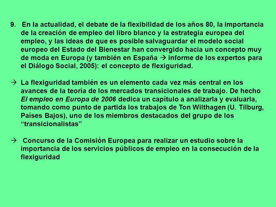 9. En la actualidad, el debate de la flexibilidad de los años 80, la importancia de la creación de empleo del libro blanco y la estrategia europea del