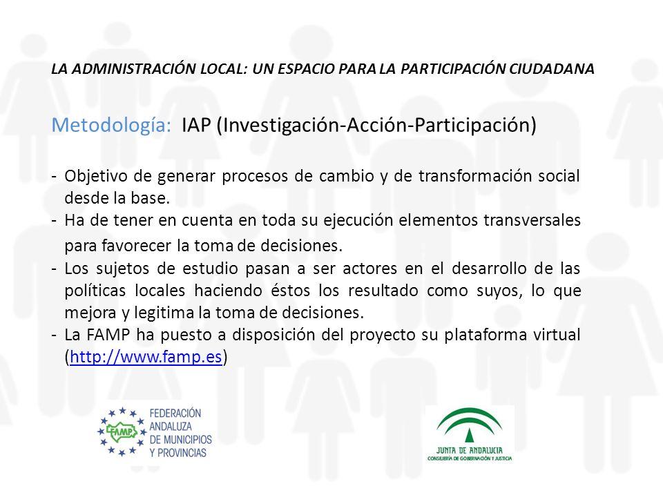LA ADMINISTRACIÓN LOCAL: UN ESPACIO PARA LA PARTICIPACIÓN CIUDADANA Metodología: IAP (Investigación-Acción-Participación) -Objetivo de generar procesos de cambio y de transformación social desde la base.