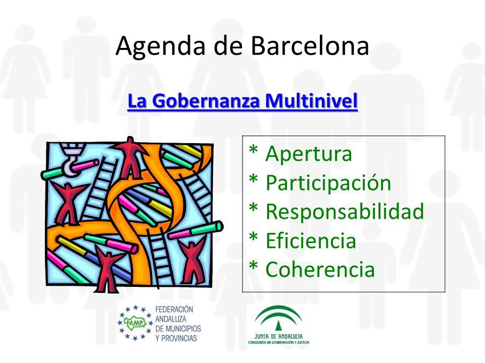 Agenda de Barcelona La Gobernanza Multinivel La Gobernanza Multinivel * Apertura * Participación * Responsabilidad * Eficiencia * Coherencia