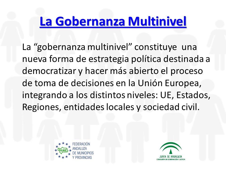 La Gobernanza Multinivel La Gobernanza Multinivel La gobernanza multinivel constituye una nueva forma de estrategia política destinada a democratizar y hacer más abierto el proceso de toma de decisiones en la Unión Europea, integrando a los distintos niveles: UE, Estados, Regiones, entidades locales y sociedad civil.