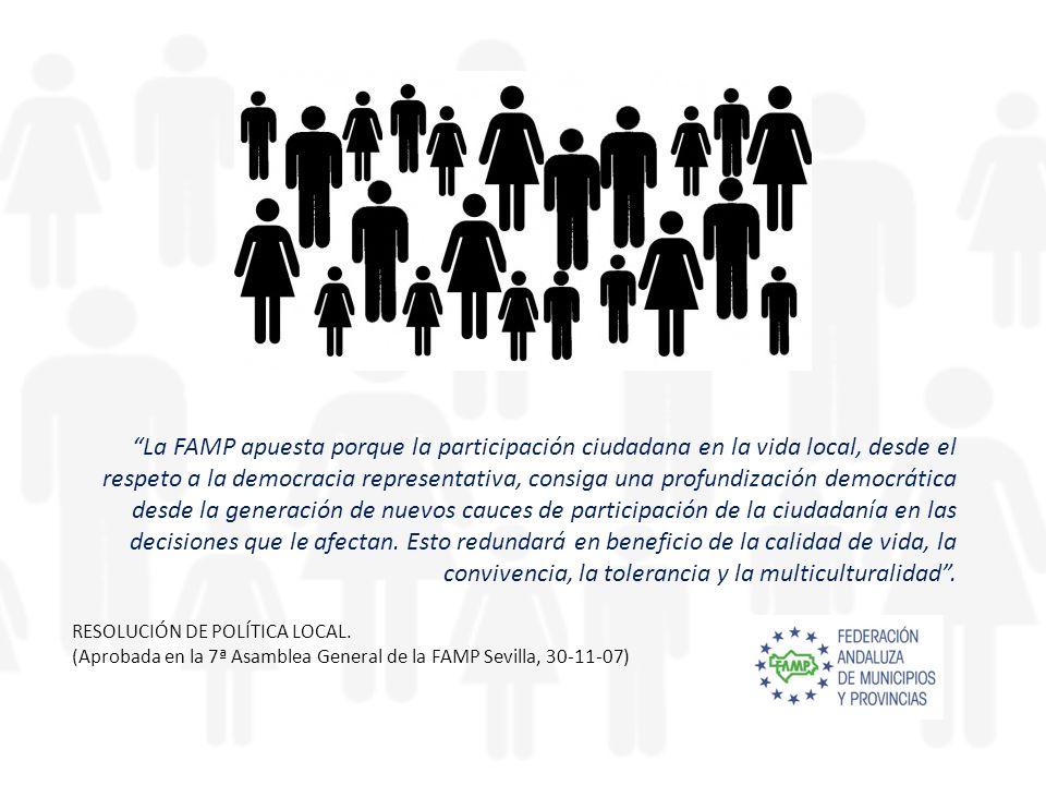 La FAMP apuesta porque la participación ciudadana en la vida local, desde el respeto a la democracia representativa, consiga una profundización democrática desde la generación de nuevos cauces de participación de la ciudadanía en las decisiones que le afectan.