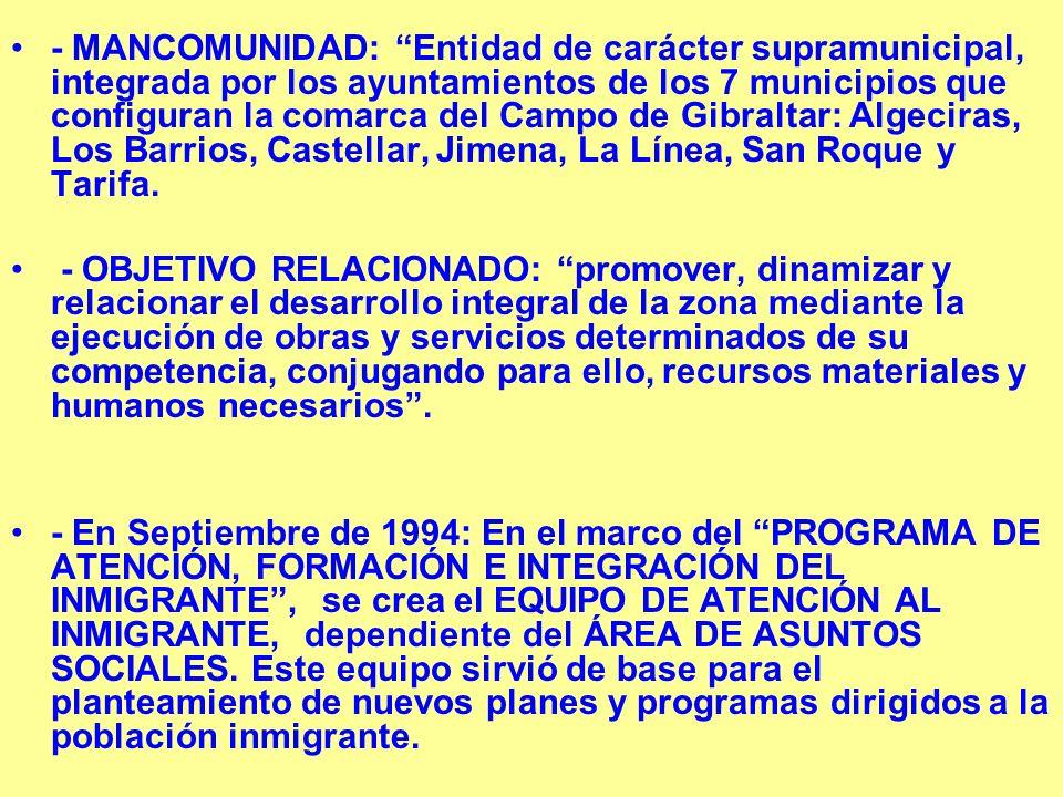 - MANCOMUNIDAD: Entidad de carácter supramunicipal, integrada por los ayuntamientos de los 7 municipios que configuran la comarca del Campo de Gibraltar: Algeciras, Los Barrios, Castellar, Jimena, La Línea, San Roque y Tarifa.