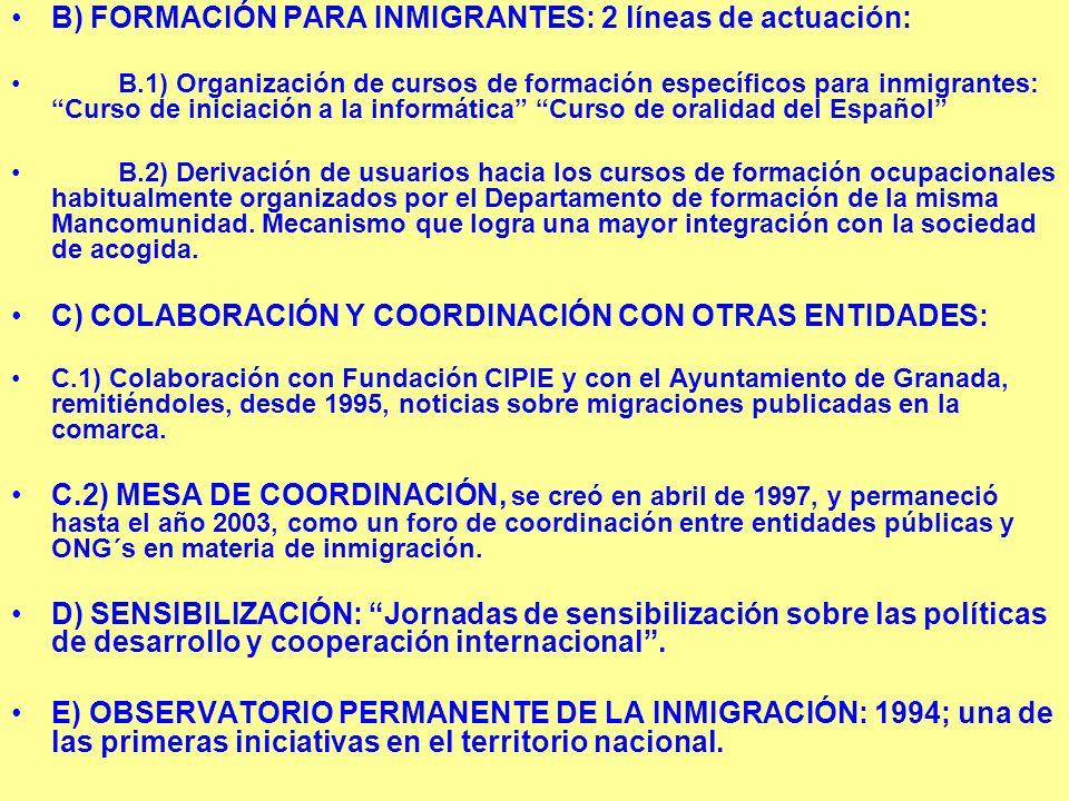 B) FORMACIÓN PARA INMIGRANTES: 2 líneas de actuación: B.1) Organización de cursos de formación específicos para inmigrantes: Curso de iniciación a la