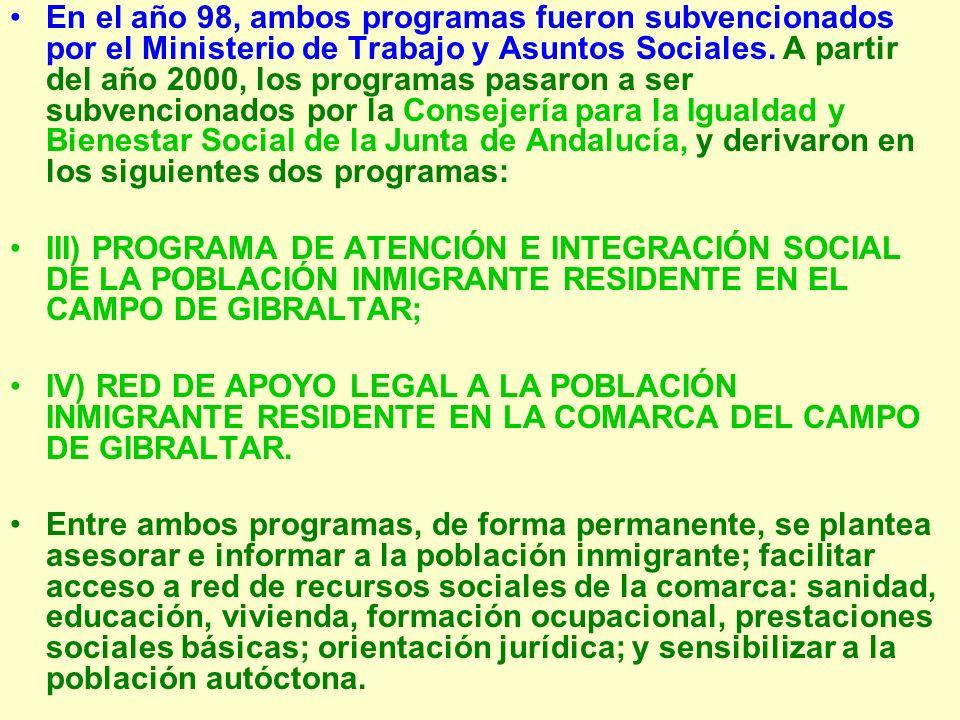 En el año 98, ambos programas fueron subvencionados por el Ministerio de Trabajo y Asuntos Sociales.