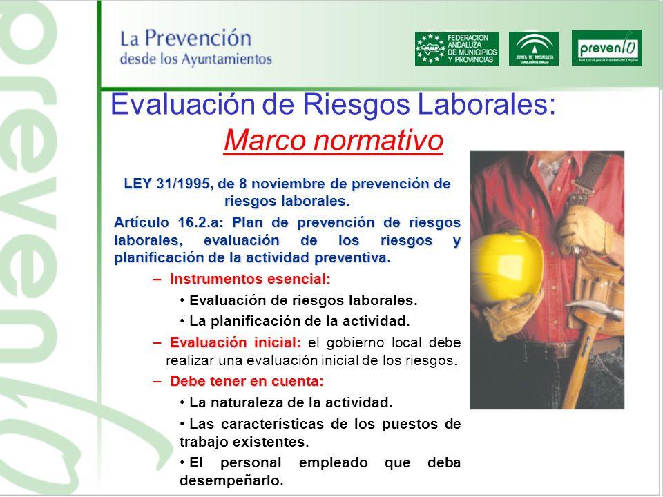 Evaluación de Riesgos Laborales: Marco normativo LEY 31/1995, de 8 noviembre de prevención de riesgos laborales. Artículo 16.2.a: Plan de prevención d