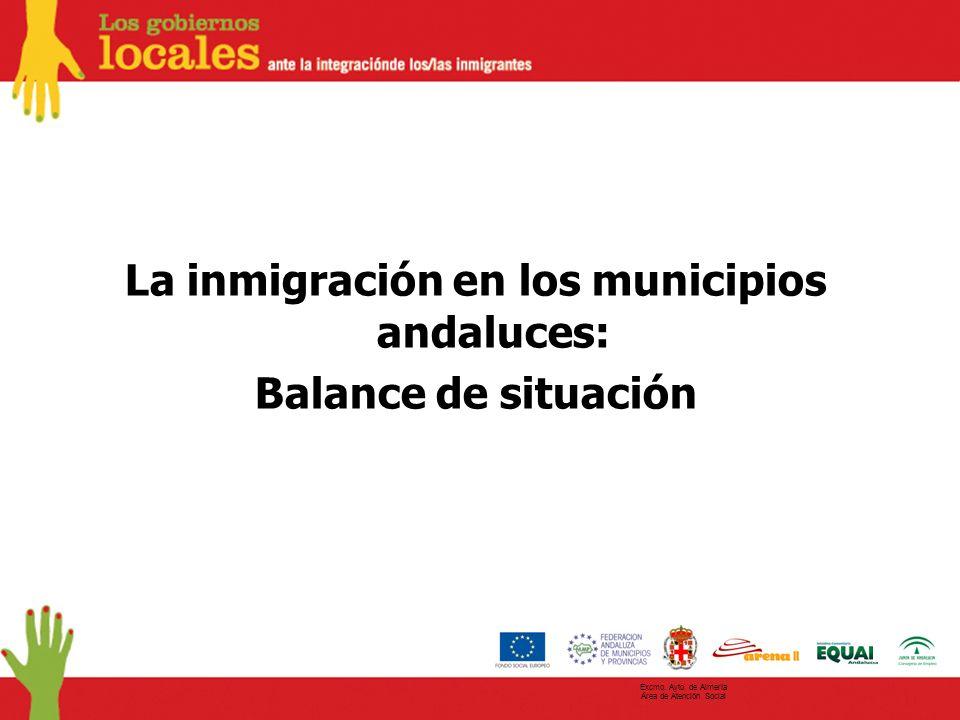La inmigración en los municipios andaluces: Balance de situación Excmo. Ayto. de Almería Área de Atención Social