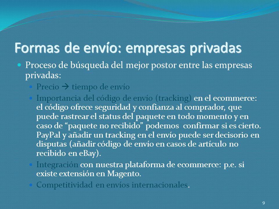 Formas de envío: empresas privadas Proceso de búsqueda del mejor postor entre las empresas privadas: Precio tiempo de envío Importancia del código de