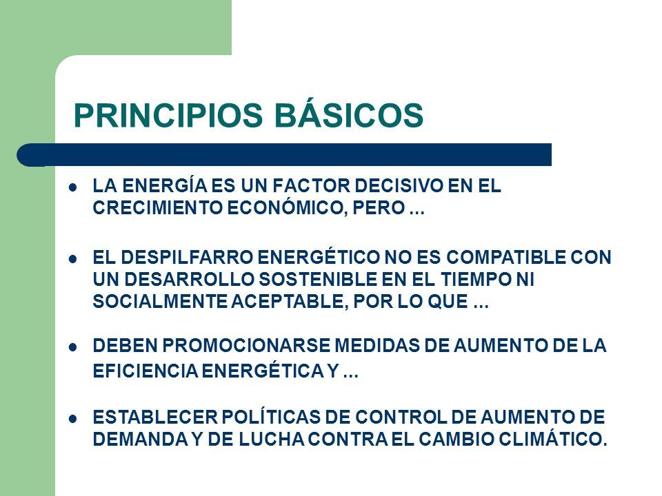PRINCIPIOS BÁSICOS LA ENERGÍA ES UN FACTOR DECISIVO EN EL CRECIMIENTO ECONÓMICO, PERO... EL DESPILFARRO ENERGÉTICO NO ES COMPATIBLE CON UN DESARROLLO