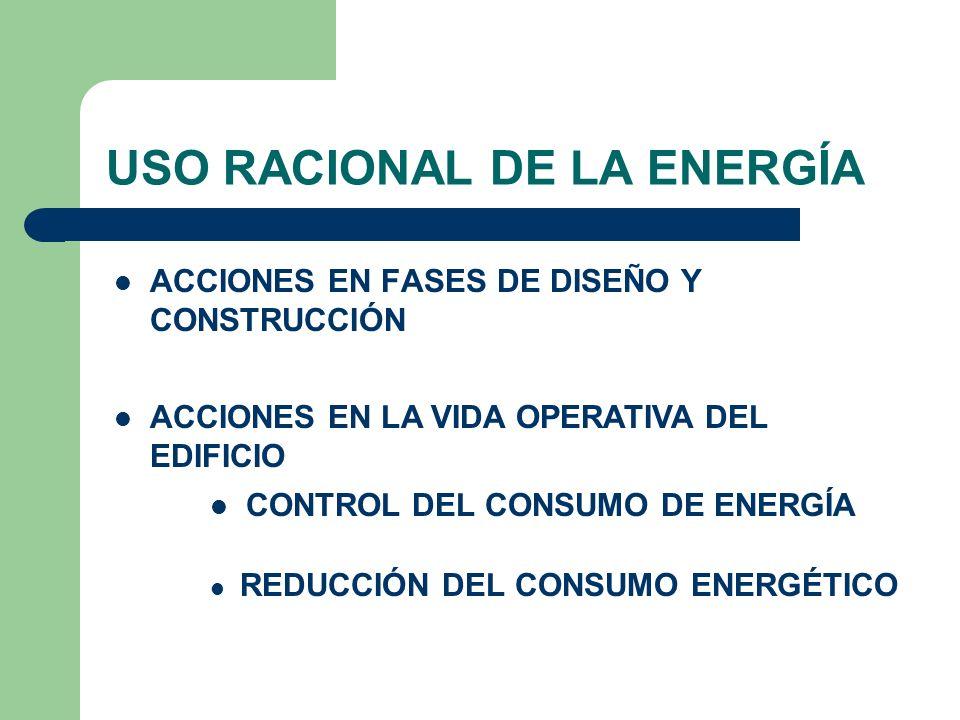 USO RACIONAL DE LA ENERGÍA ACCIONES EN FASES DE DISEÑO Y CONSTRUCCIÓN ACCIONES EN LA VIDA OPERATIVA DEL EDIFICIO CONTROL DEL CONSUMO DE ENERGÍA REDUCC