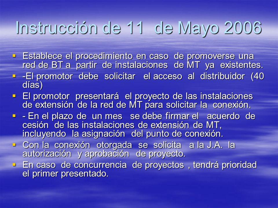 Instrucción de 11 de Mayo 2006 Establece el procedimiento en caso de promoverse una red de BT a partir de instalaciones de MT ya existentes. Establece