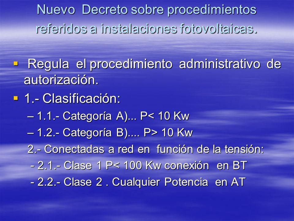 Nuevo Decreto sobre procedimientos referidos a instalaciones fotovoltaicas. Regula el procedimiento administrativo de autorización. Regula el procedim