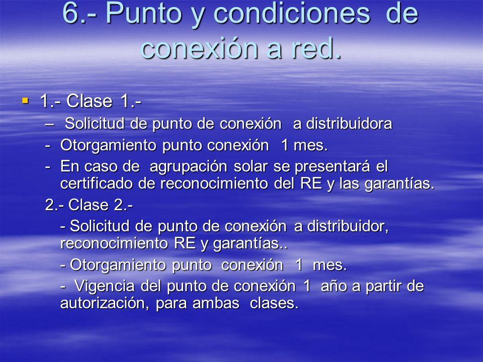6.- Punto y condiciones de conexión a red. 1.- Clase 1.- 1.- Clase 1.- – Solicitud de punto de conexión a distribuidora -Otorgamiento punto conexión 1