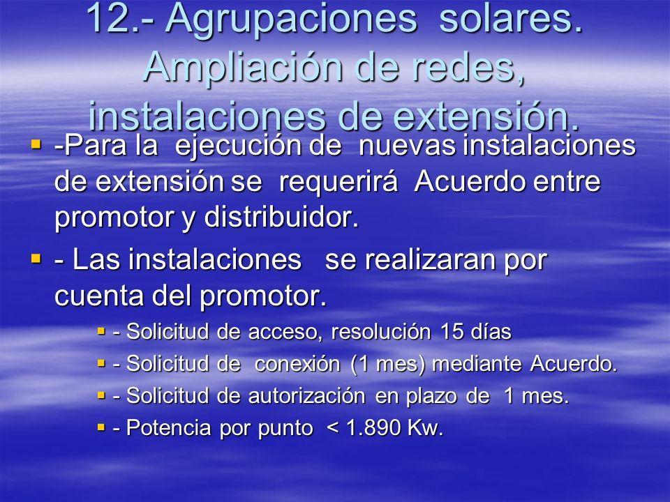 12.- Agrupaciones solares. Ampliación de redes, instalaciones de extensión. -Para la ejecución de nuevas instalaciones de extensión se requerirá Acuer